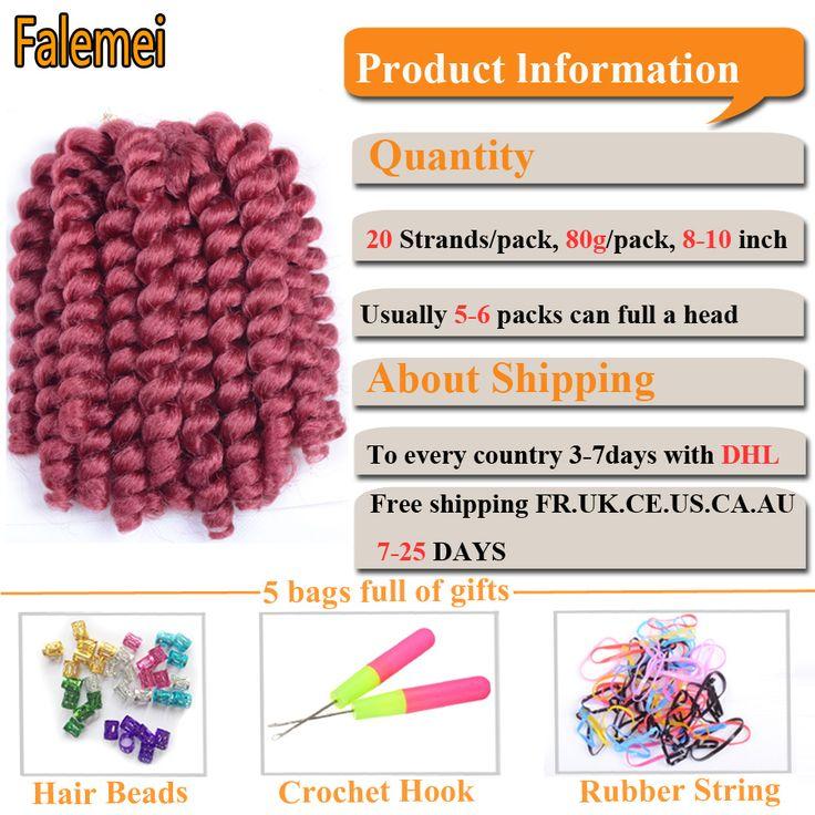 FALEMEI 2X Jamaican Bounce Crochet hair 10inch Wand Curl braids hair 8inch African hair extensions Jumpy. Click visit to buy #Hair #Braids #HairBraids