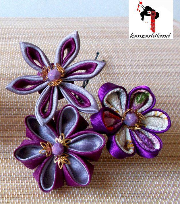 Horquilla con tres flores japonesas kanzashi por kanzashilandShop