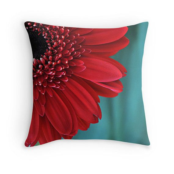 Red and Teal Flower Pillow Decorative Throw by InLightImagery a DigiColorCreation.com member!