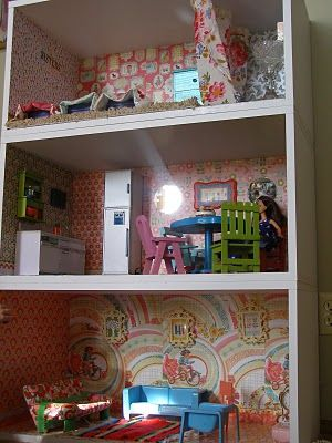 make dollhouse from bookcase