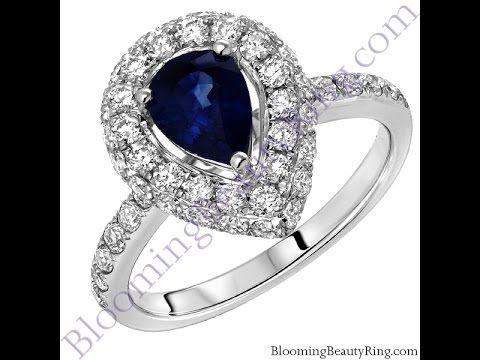 2.23 ctw Pear Shape Natural Blue Sapphire Halo Diamond Ring Sale