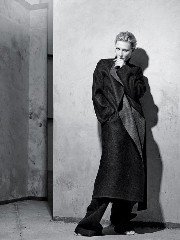 Cate Blanchett in an oversized coat and trousers for T Magazine