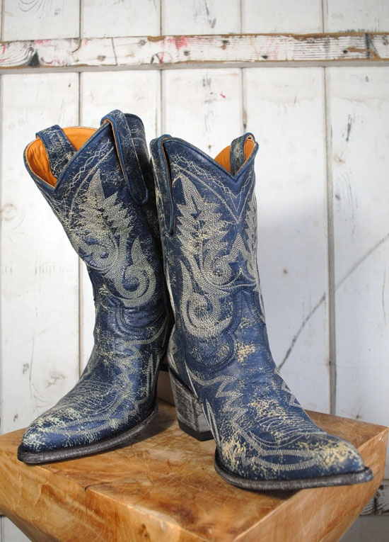 Old Gringo Navy Blue Distressed Nevada Boot - The Gypsy Wagon, Dallas