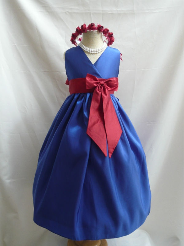 ROYAL BLUE APPLE RED WEDDING FLOWER GIRL DRESS