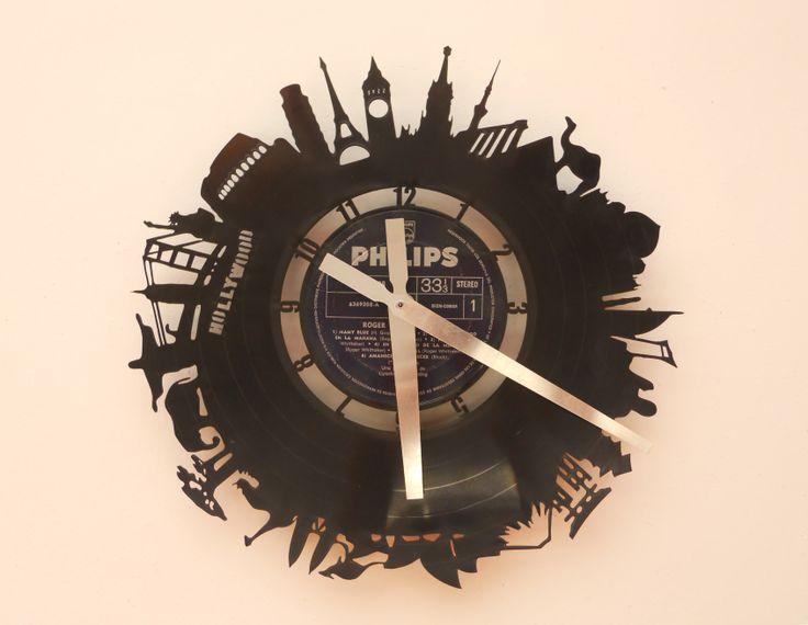Reloj de pared calado en disco de vinilo laser cutting - Reloj vinilo pared ...