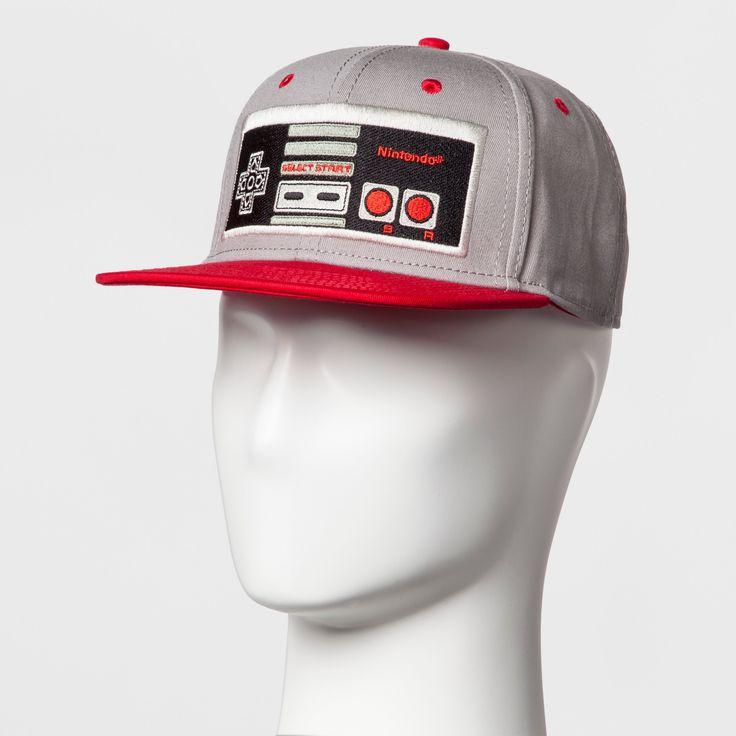 Men's Nintendo Controller Baseball Cap - Gray/Red One Size