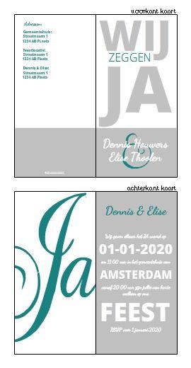 Trouwkaartje typografisch met wit grijs en baluw . Ontwerp of bewerk dit kaartje zelf! Met onze ontwerp tool. www.trouwkaarten-... #trouwkaarten, #wedding, #bruiloft, #kaartjes, #ontwerpen, #uitnodigingen