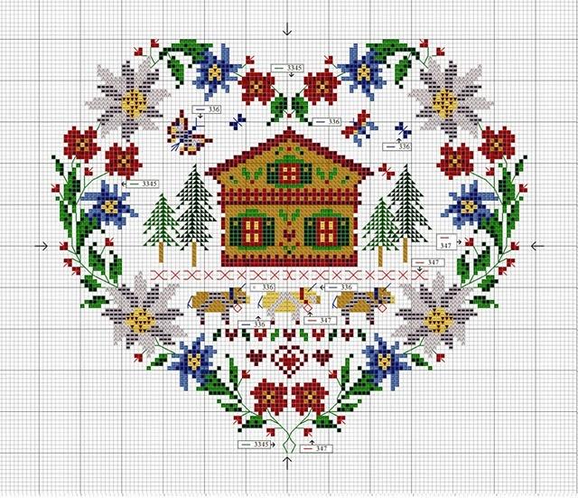 Lovely cross stitch pattern, heart-shaped - chalet, alpine flowers, etc.