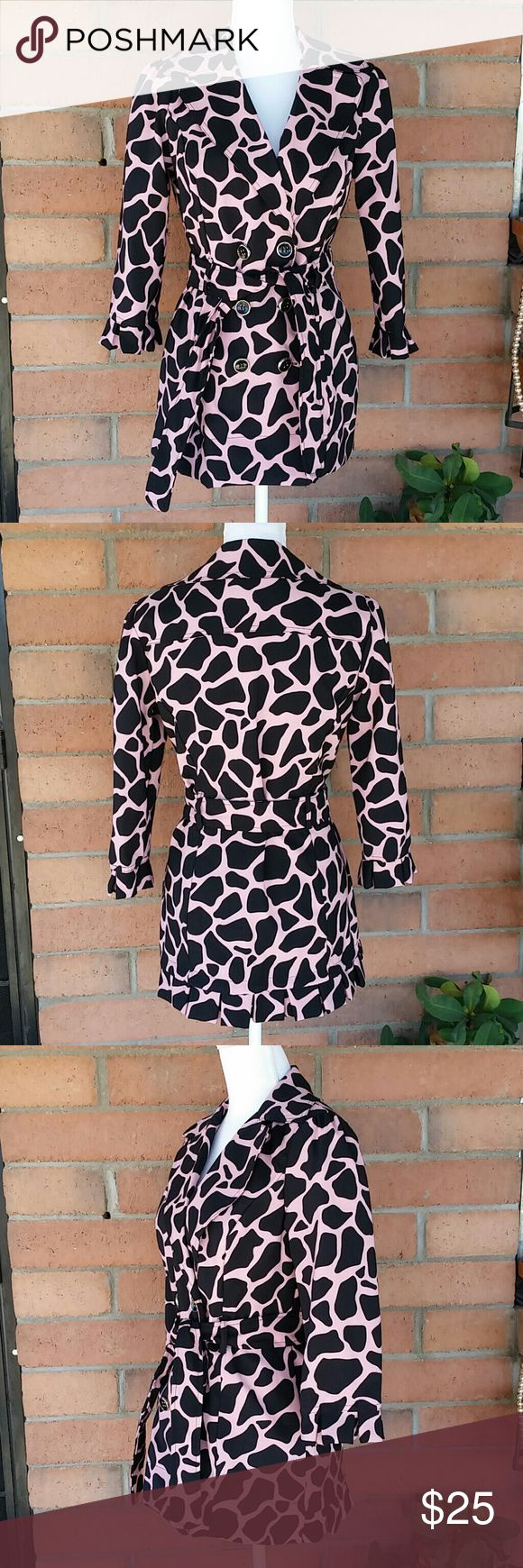 """Heart Soul Animal Print Jacket Pink/Black Sz. M Heart Soul Giraffe animal print belted jacket in Pink/Black. Jacket has cute ruffle details around the sleeve cuffs and at the bottom of jacket in the back. Jacket is lined in a black satin material.    Measurements:             Chest:    19""""                                        Length:    28"""" Heart Soul Jackets & Coats"""
