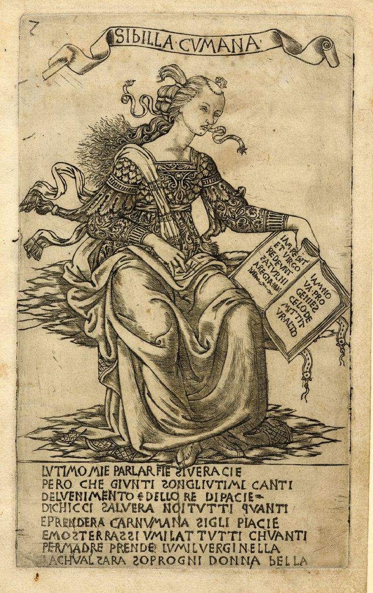 The Cumaean Sibyl, sitting on clouds, she is holding in her left hand an open book. c.1470-80 Engraving