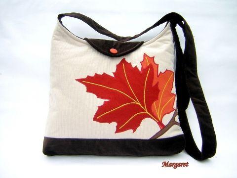 Margaret - Őszi levél mintás válltáska, Meska  #fall #leaf #bag