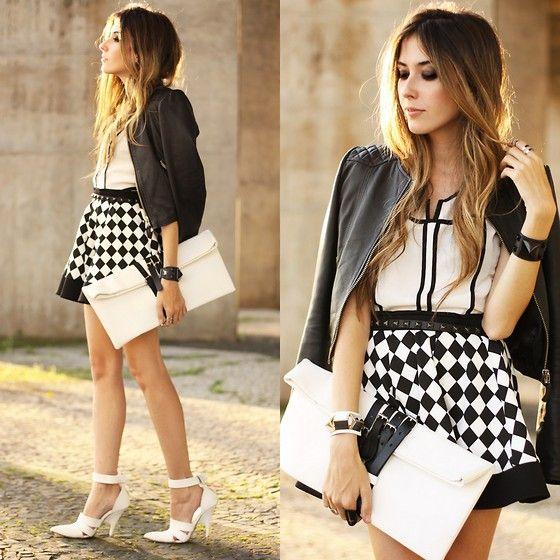 Awwdore Top, Iclothing Skirt, Boda Skins Jacket, Choies Clutch, Choies Shoes, Kafé Bracelet