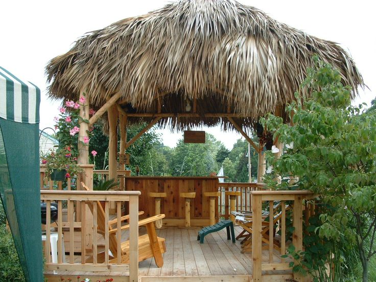 Warrington, Pa. -   2 level cedar deck with a 21x14 Tiki Hut, 8x4 custom red cedar tiki bar with electric, ice bin, cable tv, stereo system, footrest, lower bar top & cabinets, marine grade red oak plywood bar top, ceiling fan & light kit,7 bar stools. Full photo album can be seen here on facebook - https://www.facebook.com/tikikev/photos_albums . For more info go to www.tikikev.com or contact me directly at 800-792-8454 , or email to tikikev@tikikev.com