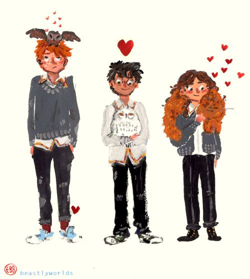 Ron and pig, Harry and hedwig, hermione and crookshanks.