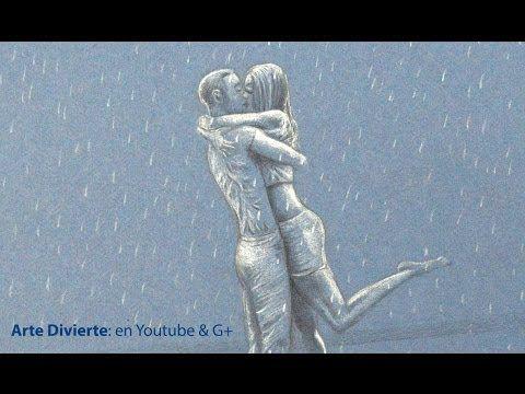 Cómo dibujar una pareja de enamorados besándose bajo la lluvia - Arte Divierte. - YouTube