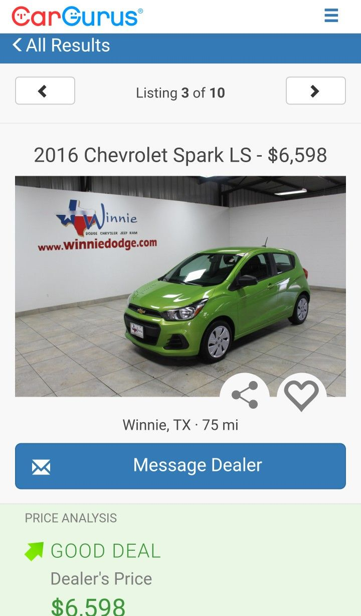 2016 Chevrolet Spark LS - 5 speed manual transmission, $6,598 in Winnie, TX on CarGuru