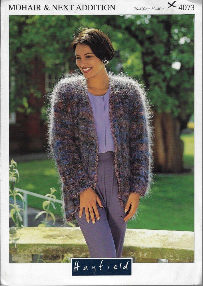 Women's Edge to Edge Jacket Hayfield 4073 knitting pattern mohair yarn #Hayfield