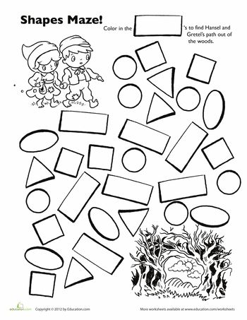 Story Time Worksheet: Hansel and Gretel Shape Maze This forest is scary! Help Hansel and Gretel find their way out by making a path of rectangles. This exercise is a fun way to teach your preschooler to recognize shapes.