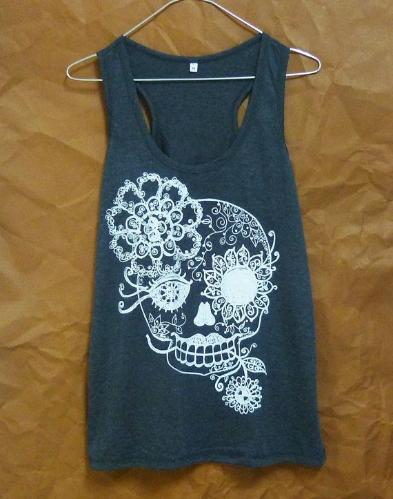 Skull shirt Day of the dead Vintage flower print by WorkoutShirts