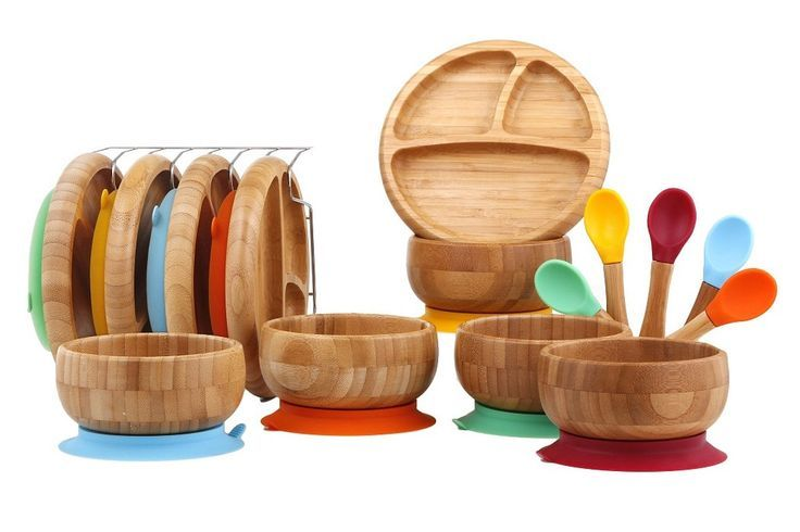 Gorgeous Bamboo Baby Plates Bowls And Spoons Natural And Beautiful Perfect For Feeding Time Ad Baby Gift Sets Free Baby Stuff Baby Bowls