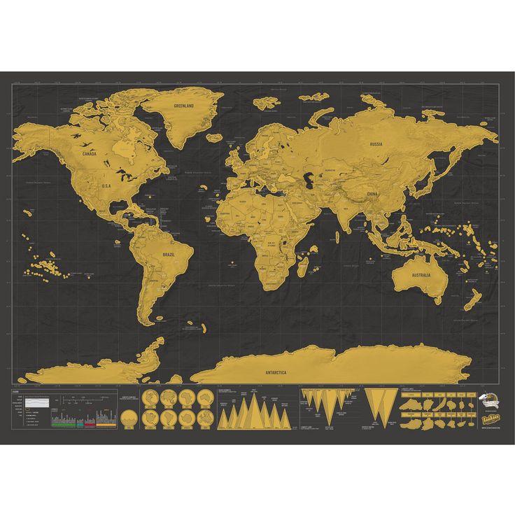 Tableau Carte du monde à gratter Deluxe 82 x 59 cm Carte du monde à gratter Deluxe 82 x 59 cm