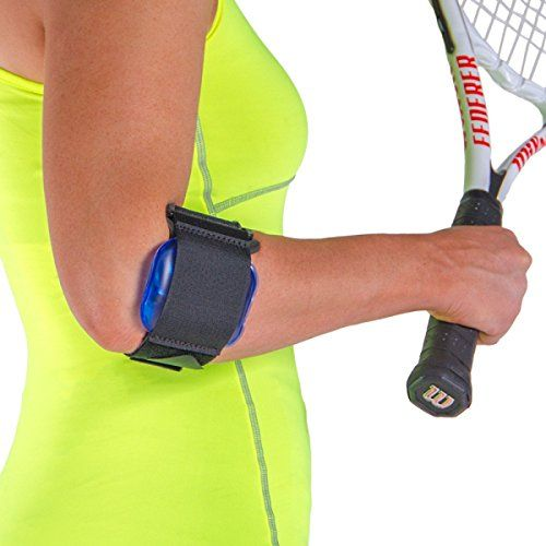 Tennis Elbow Gel Strap / Cold Therapy Arm Band. This adjustable tennis elbow band helps to provide cold gel therapy to the injured elbow and forearm.   Click to read more. #cold #heat #therapy #elbow #hand #pain #fitness #sports #recovery #health #hurt #relief #tennis #elbow