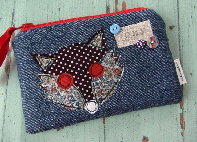 Coin purse - Fox design, blue denim, liberty fabric