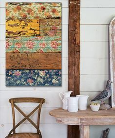 can achieve this look with wood from vintage crate and wall paper scraps.