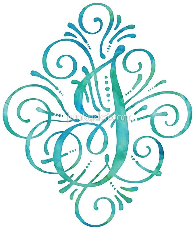 Monogram By Junkydotcom Curly Watercolor Hand Painted Calligraphy