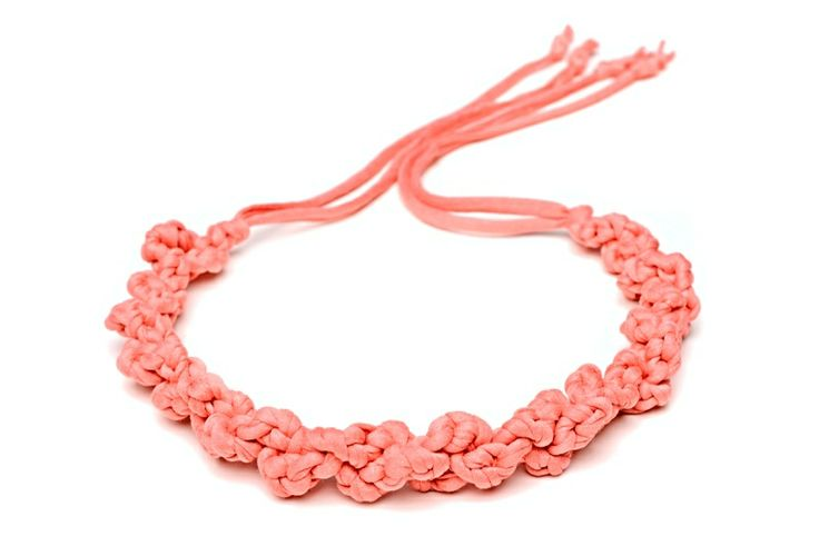 Maccheron 100% Fabric Crochet Necklace (salmon) - Designed and handmade with ♥ ...in Budapest ...by me :-) Like my page on FB: www.facebook.com/Maccheron