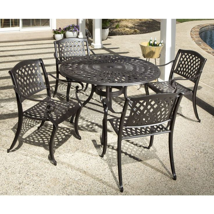 Westbury Cast Dining Set With Round Dining Table and 4 Stackable Dining Arm Chairs