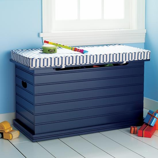 The Land Of Nod Kids Benches Kids Blue Beadboard Toy Chest In Benches Toy Storage Boxes Boys Toy Box Kids Toy Boxes