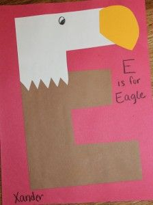 E is for Eagle craft and cracking eggs movement activity