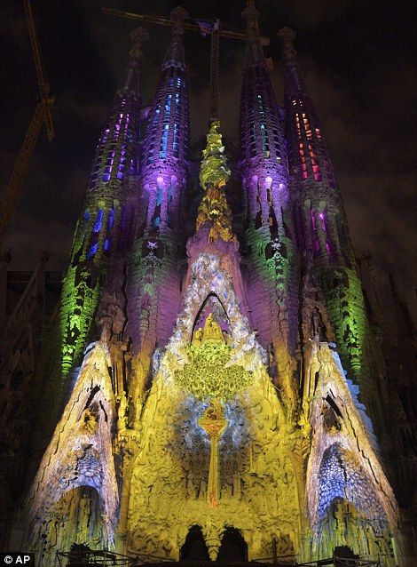Let there be light: Gaudi's Basilica Sagrada Familia is illuminated during a magnificent light show as part of the Merce Festival in Barcelona, Spain