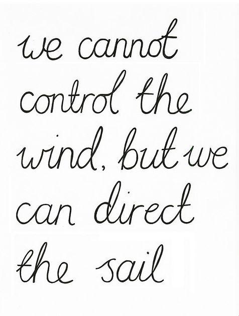 No podemos controlar el viento,pero podemos dirigir la vela.