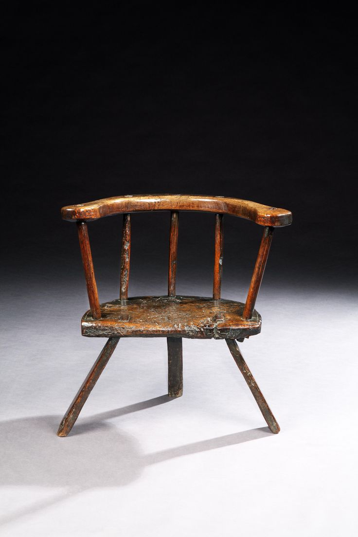 Rare and Sculptural Primitive Three Legged Windsor Chair, With Massive Single Piece Horseshoe Arm bow Solid Well Patinated Oak, Welsh, Probably Carmarthenshire, C1720