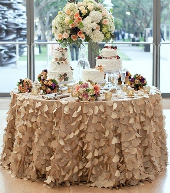 Champagne Round Petal Ruffle Tablecloth Or Runner For Dessert
