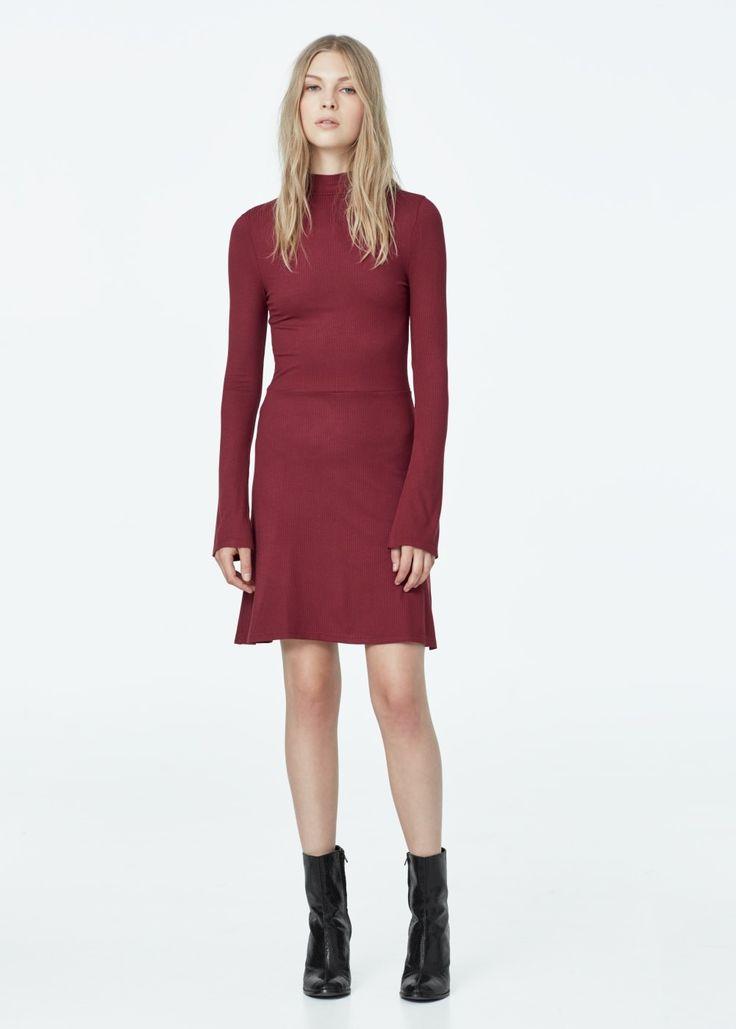 Tricot jurk ribdetails | MANGO