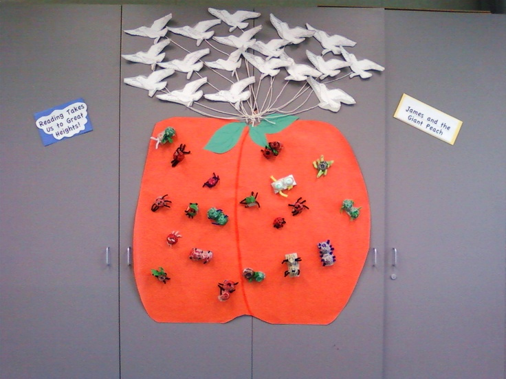 """James and the Giant Peach... Insects made from egg cartons. Favorite part of the story written on a seagull and then """"tied"""" to the peach..."""