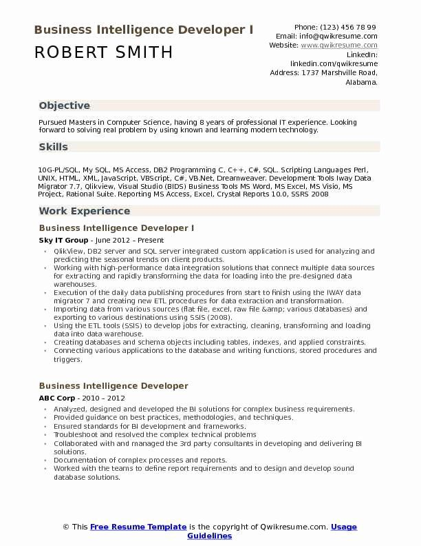 Customer Support Specialist Resume Fresh Business Intelligence Developer Resume Samples