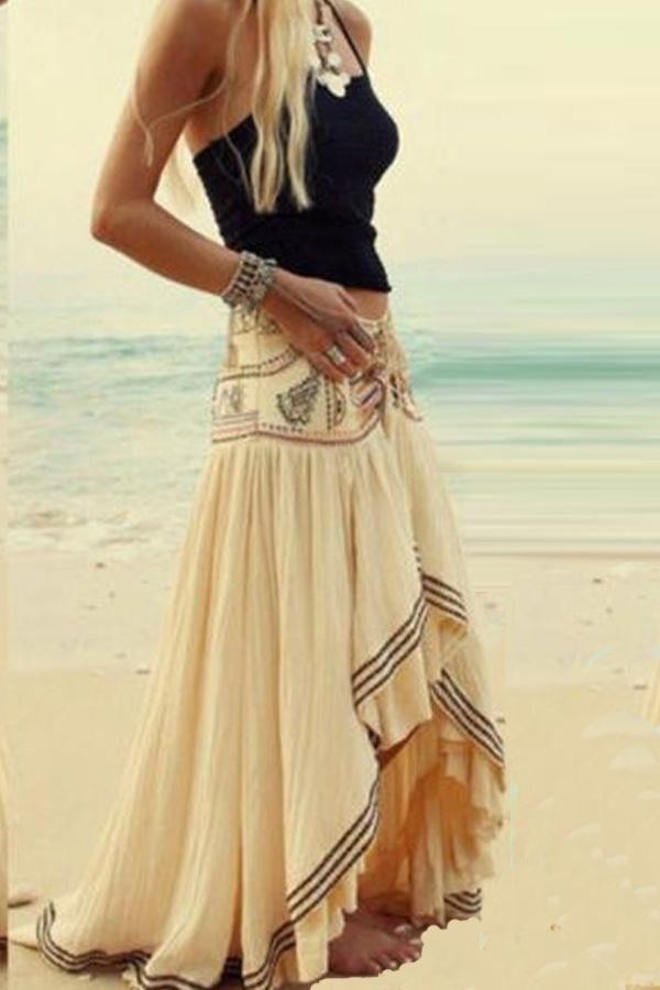 48012310b6 Bohemia Style Irregular Hem Beach Skirt Vacation Dresses in 2019 ...