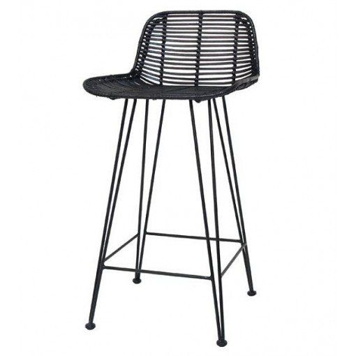 Hand braided rattan bar stool with natural finish by HK Living.   The frame is made of solid black painted metal. Great Bar stools for any kitchen or Bar Bench