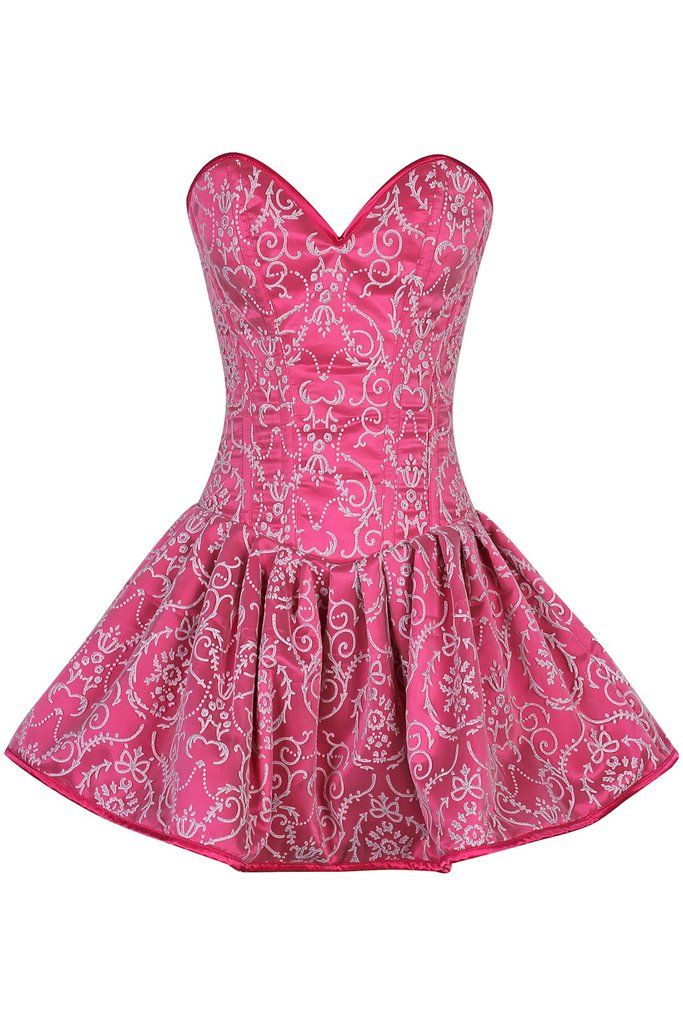 Top Drawer Regal Pink Steel Boned Corset Dress