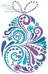 Artecy Cross Stitch. Abstract Easter Egg 1 Cross Stitch Pattern to print online.