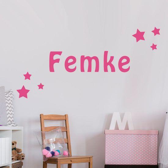 Roze Muurdecoratie Kinderkamer.Muursticker Naam Met Sterren In 2019 Babykamer Muurstickers Home
