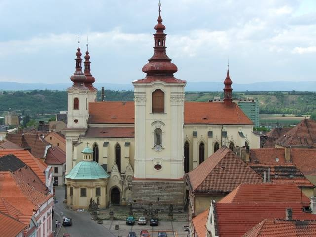 The Cathedral of Zatec in Bohemia, taken from the tower of the Town Hall    Czech Republic