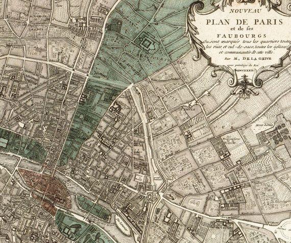 Antique Paris Map Plan de Paris  Victorian by missquitecontrary, $25.00 further inspiration...
