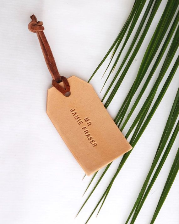 Personalized Leather Luggage Tag Natural Tan Travel by MayaaCo