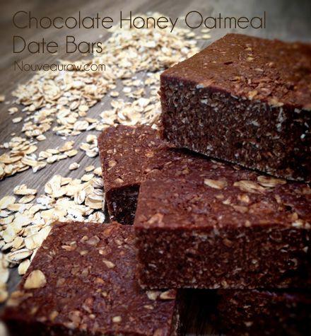 Raw Chocolate Honey Oatmeal Date Bars (nut-free, raw, gluten-free, dairy-free)