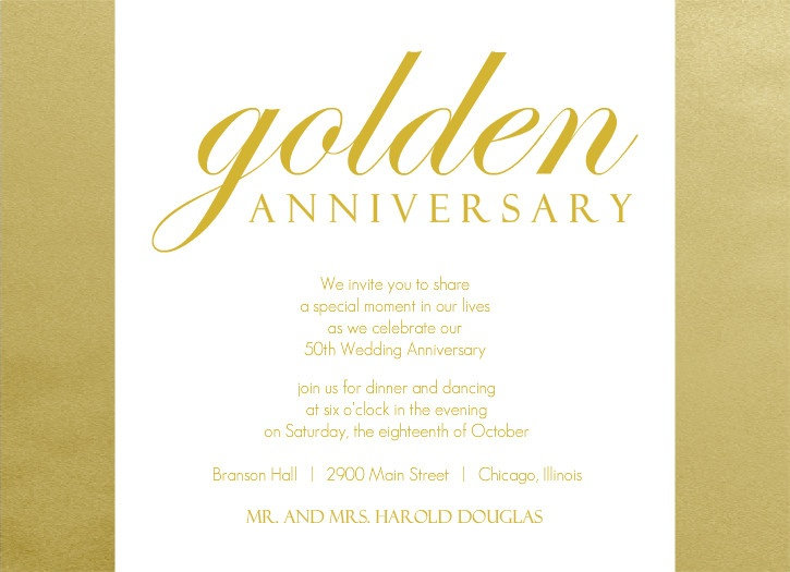 Shimmering Golden Set 50th Anniversary Party Invitation By